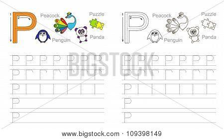 Tracing worksheet for letter P