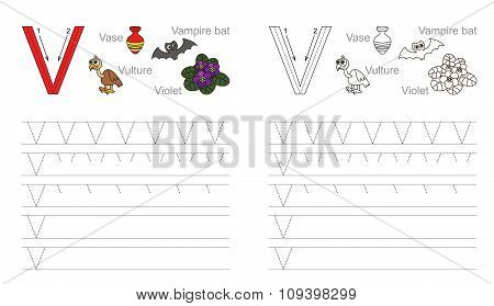 Tracing worksheet for letter V
