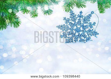 Defocused Abstract Snowflakes On Snow Bokeh.