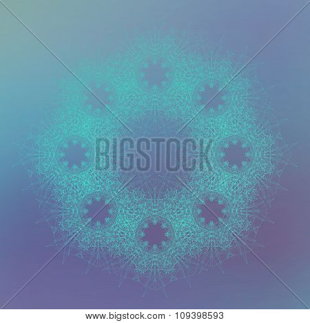 Geometric form with connected lines and dots on the blue background. Vector illustration