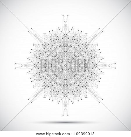 Grey geometric form with connected lines and dots. Vector illustration