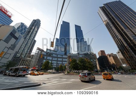 NEW YORK - August 22, 2014: fountains and monuments at Columbus Circle