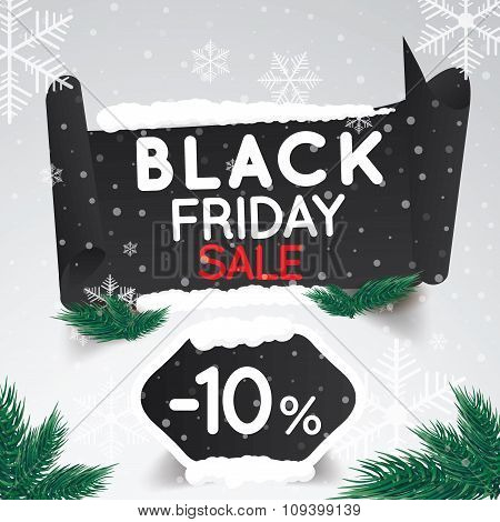 Black Friday Sale 10 Percent . Curved Paper Banner On Winter Background With Snow And Snowflakes. Wi