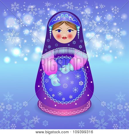 Traditional matryoshka on Christmas background