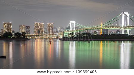 Long exposure of bay and Rainbow bridge from Odaiba, Nightview
