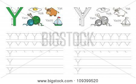 Tracing worksheet for letter Y