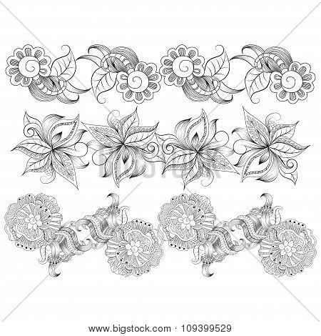 Borders with hand-drawing decorative elements