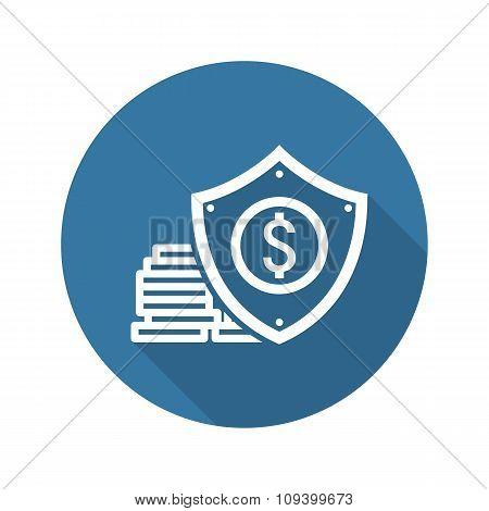 Money Protection Icon. Flat Design.