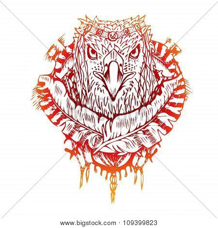 Abstract graphic colored eagle, print.