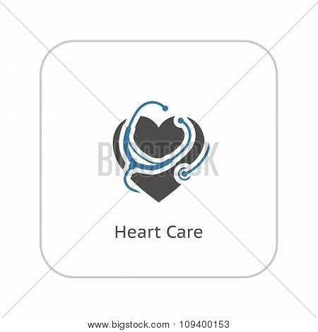 Heart Care Icon. Flat Design.