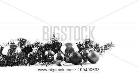 Christmas Tree Balls And Decorations Isolated On White Background Black And White