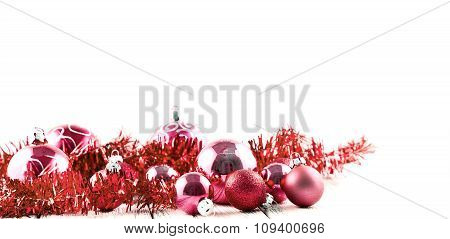 Red Christmas Tree Balls And Decorations Isolated On White Background