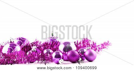 Pink Christmas Tree Balls And Decorations Isolated On White Background