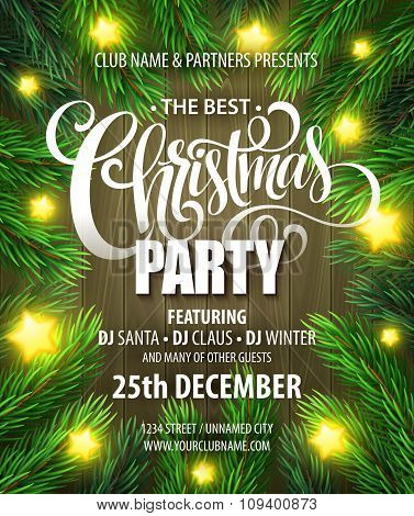Christmas Party poster design template. Vector illustration