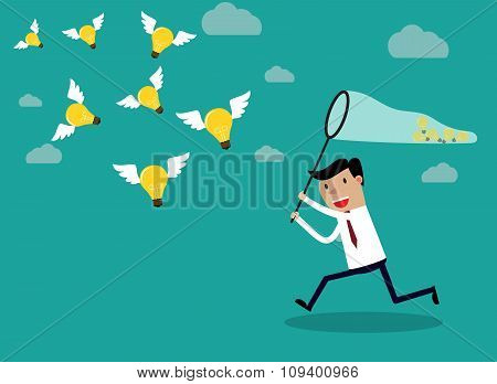 Businessman running with butterfly  light bulbs