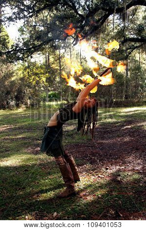 Fire Girl In A Forest