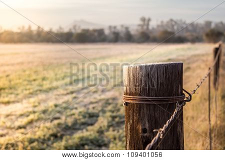Sunrise On A Frosty Meadow And Fence Pole In South Africa