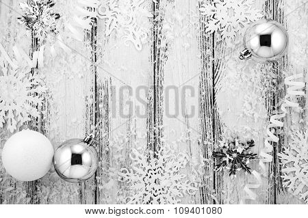 New Year Theme: Christmas Tree White And Silver Decorations, Balls, Snow, Snowflakes, Serpentine On