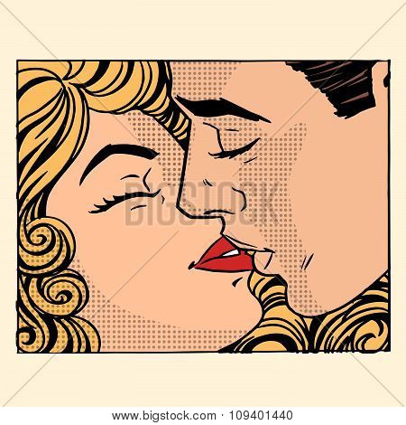 Retro kiss man and woman love couple