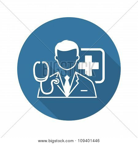 Doctor Consultation Icon. Flat Design.