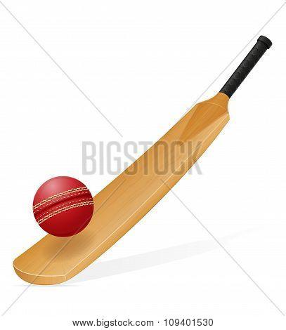 Cricket Bat And Ball Vector Illustration