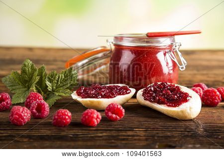 Jars of preserves, jams, fruit