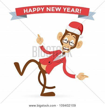 Funny monkey Christmas Santa hat dancing