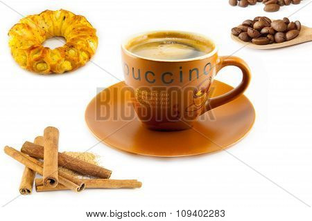 Cup Of Cappuccino And Cookies