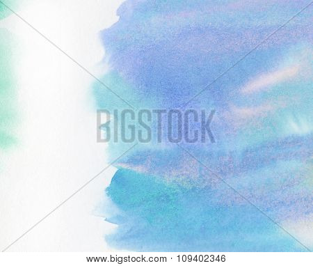 Abstract painted watercolor water, sky or cloud with copy space