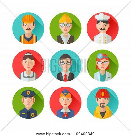 Set Of Flat Portraits Icons With People Of Different Professions