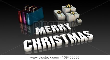 Merry Christmas Greetings with Shopping Bags and Gifts