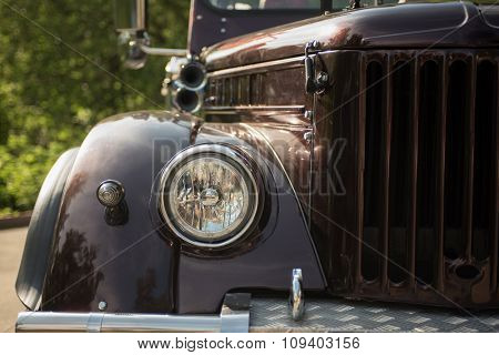 new retro truck closeup with headlamp