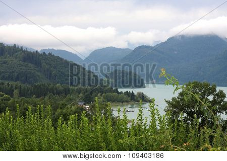 Drachenwand Mountain And Mondsee Lake (moon Lake) In The Upper Austria.