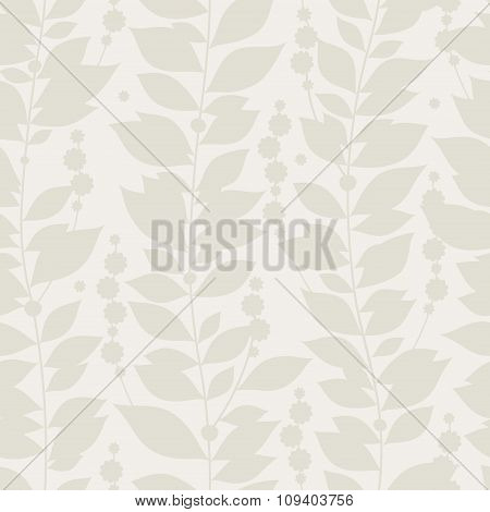 Seamless Grey Background With Flowers, Leaves.