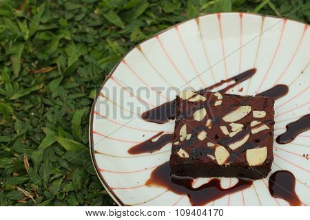 Chocolate Brownies Cake On A White Plate.