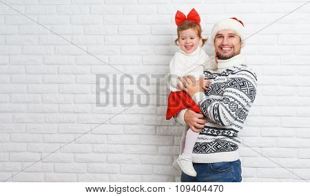 Happy Family Father And Child With Gift In Christmas