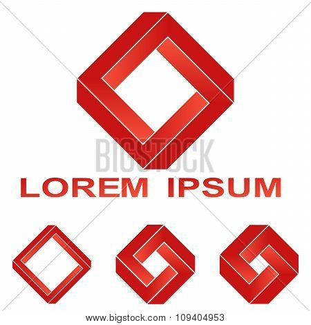 Red Penrose rectangle technology symbol set