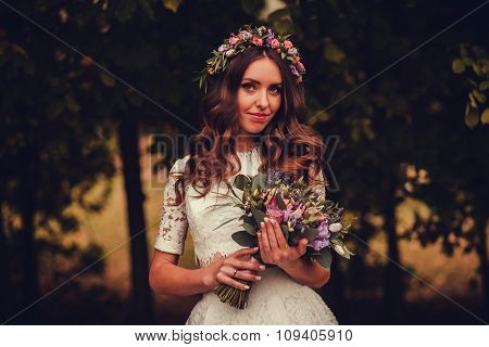 Portrait  Bride In The Autumn Park