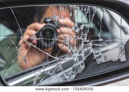 Mirror Image In Broken Mirror