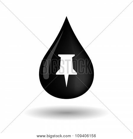 Vector Oil Drop Icon With A Push Pin