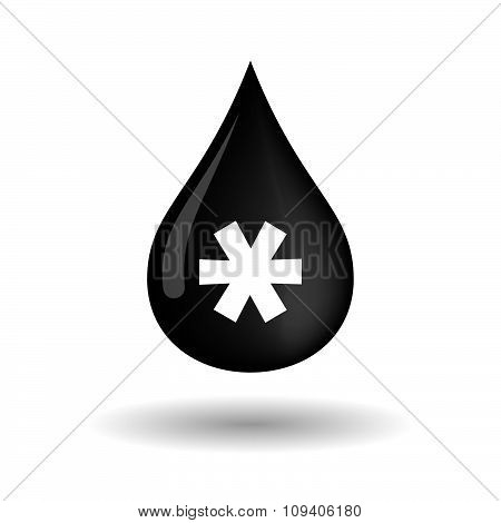 Vector Oil Drop Icon With An Asterisk