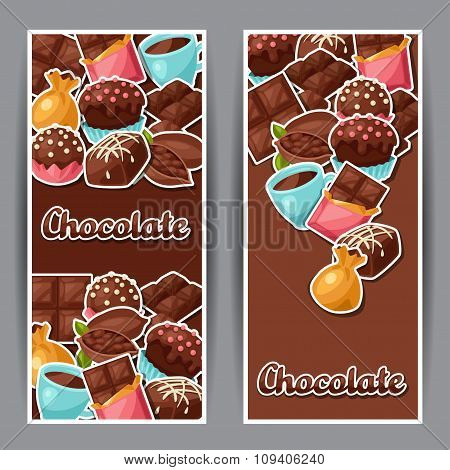 Chocolate vertical banners with various tasty sweets and candies