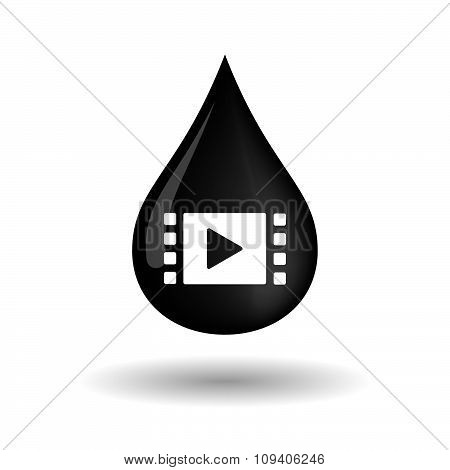 Vector Oil Drop Icon With A Multimedia Sign