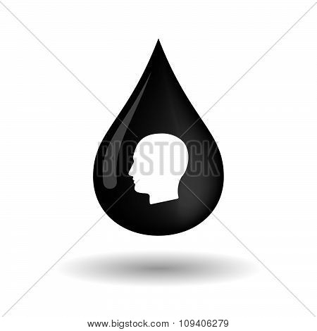 Vector Oil Drop Icon With A Male Head