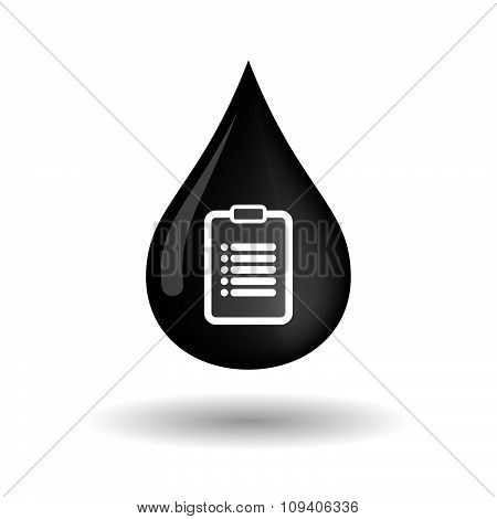 Vector Oil Drop Icon With A Report
