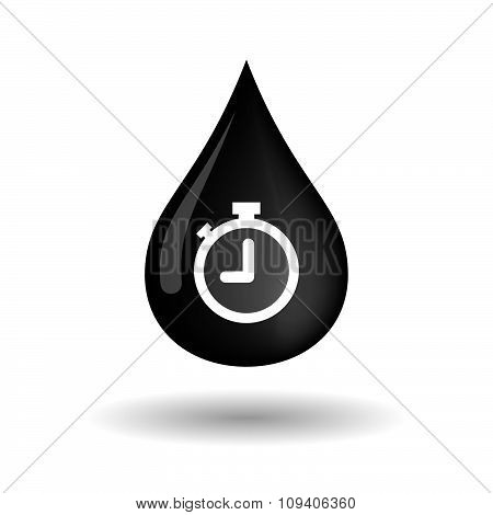 Vector Oil Drop Icon With A Timer
