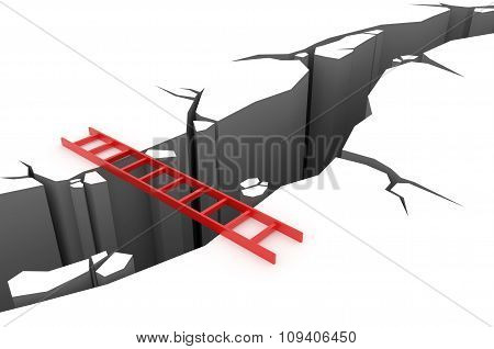 Red Ladder Over A Pit