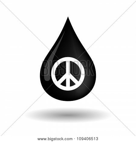 Vector Oil Drop Icon With A Peace Sign