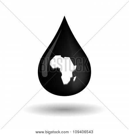 Vector Oil Drop Icon With  A Map Of The African Continent