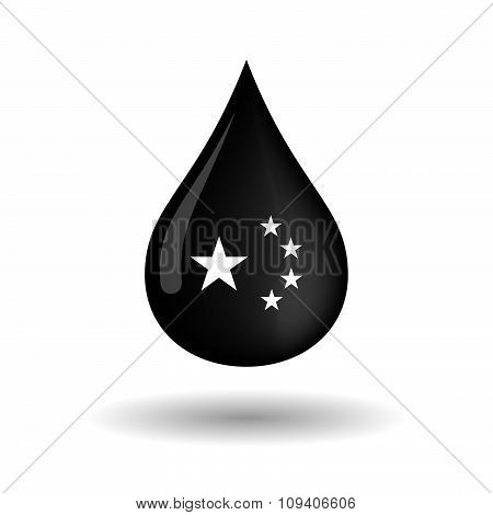 Vector Oil Drop Icon With  The Five Stars China Flag Symbol